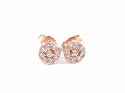 Picture of Silver Clear CZ Rose Gold Finish Round Cluster Studs Earrings