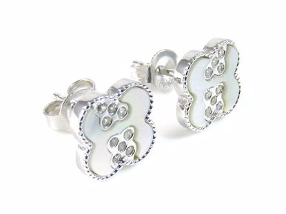 Picture of Mother of Pearl & CZ Quatrefoil Studs Earring in Sterling Silver