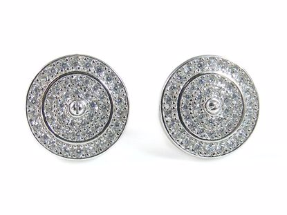 Picture of Clear CZ Stones Round Cluster Studs Earrings in Sterling Silver