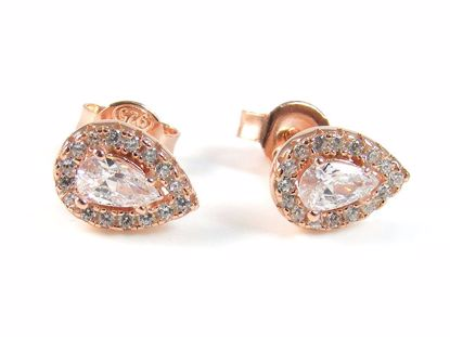 Picture of Pear Shape & Round CZ Rose Gold Finish Silver Cluster Studs Earrings