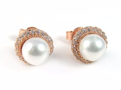 Picture of Silver Pearl & Round CZ Rose Gold Finish Cluster Studs Earrings