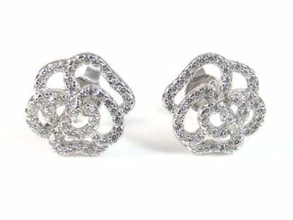 Picture of Round CZ Sterling Silver Flower Shape Cluster Studs Earrings