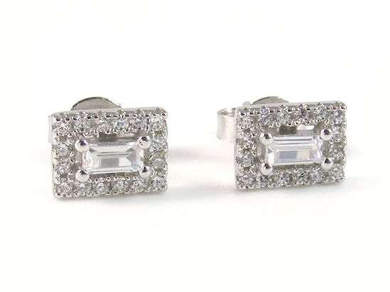 Picture of Silver Emerald Cut & Round CZ Rectangular Cluster Studs Earrings