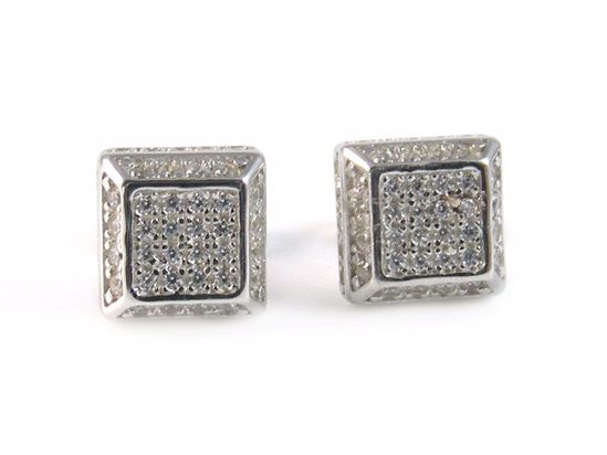 Picture of Round CZ Sterling Silver Square Shape Cluster Studs Earrings