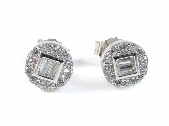 Picture of Baguette & Round CZ Sterling Silver Round Cluster Studs Earrings