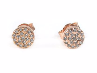 Picture of Silver Round CZ Rose Gold Finish Round Cluster Studs Earrings