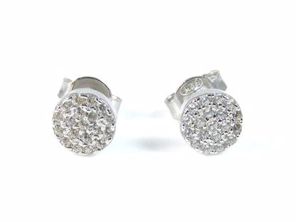 Picture of Round CZ Sterling Silver Round Cluster Studs Earrings