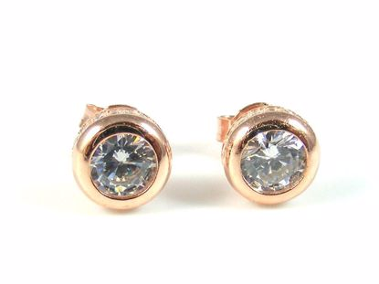 Picture of Silver Round CZ Rose Gold Finish Round Solitaire Studs Earrings
