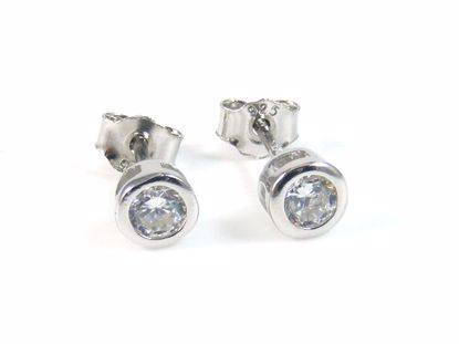 Picture of Round CZ Sterling Silver Round Solitaire Studs Earrings