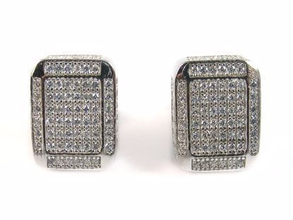 Picture of Round CZ Sterling Silver Rectangular Shape Cluster Studs Earrings