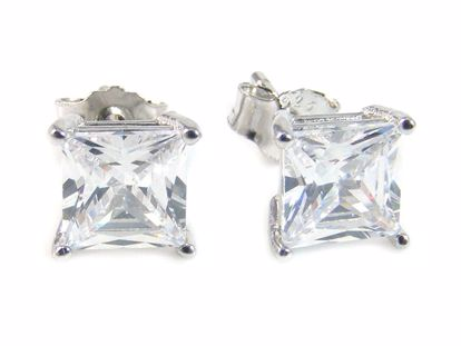 Picture of Sterling Silver 5 mm Square Shape White CZ Studs Earringss