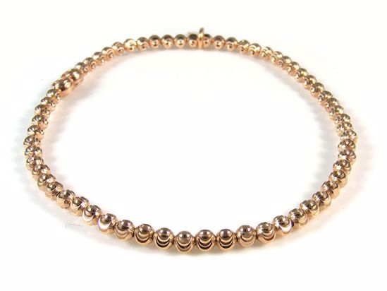 Picture of Sterling Silver Rose Gold Finish Diamond Cut Beads Bracelet