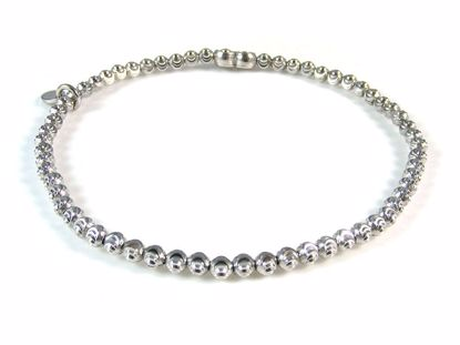 Picture of Sterling Silver Rhodium Finish Diamond Cut Beads Bracelet
