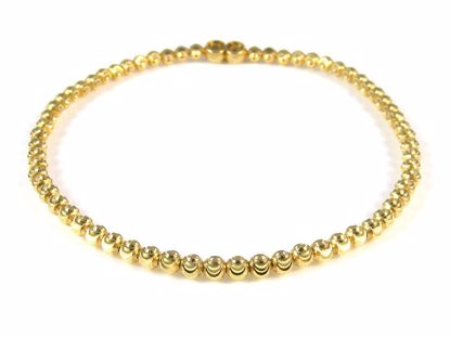 Picture of Sterling Silver Yellow Gold Finish Diamond Cut Beads Bracelet