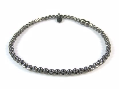 Picture of Sterling Silver Black Finish Diamond Cut Beads Bracelet