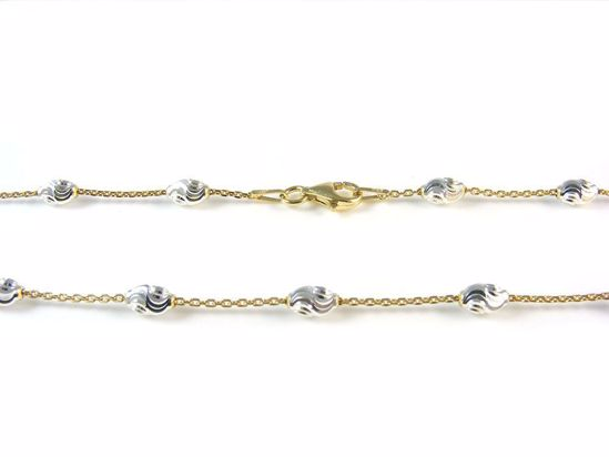 Picture of Silver Yellow Gold Trace Chain with Diamond Cut Beads