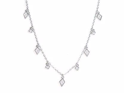 Picture of Sterling Silver CZ Diamond Shape and Round Droplets Necklace