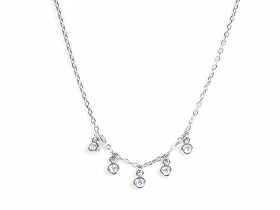 Picture of Sterling Silver Clear CZ Round Droplets Necklace
