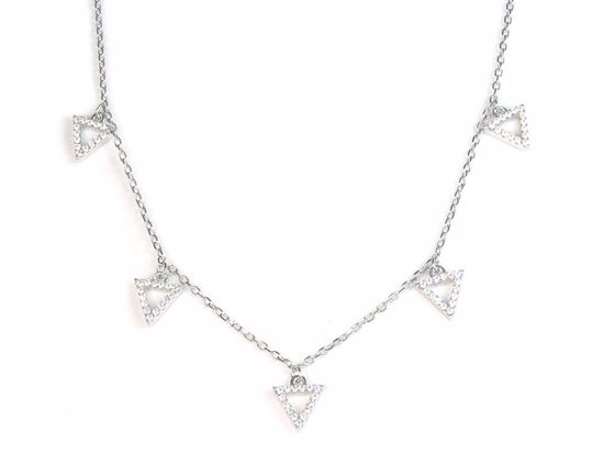 Picture of Sterling Silver Clear CZ Triangular Droplets Necklace