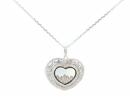 Picture of Heart Shape Floating CZ Cluster Sterling Silver Pendant