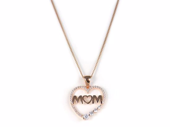 Picture of Mum Heart Shape Rose Gold Finish CZ Cluster Sterling Silver Pendant
