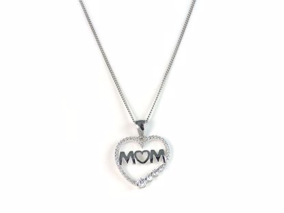 Picture of Mum Heart Shape CZ Cluster Sterling Silver Pendant