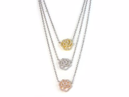 Picture of Three Tone Three Rose Shape CZ Clusters Sterling Silver Pendant
