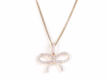 Picture of Fancy Tie Knot Shape Rose Gold Finish CZ Cluster Silver Pendant