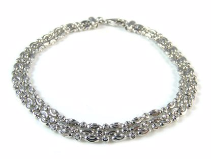 Picture of Sterling Silver Three Row Diamond Cut Beads Bracelet