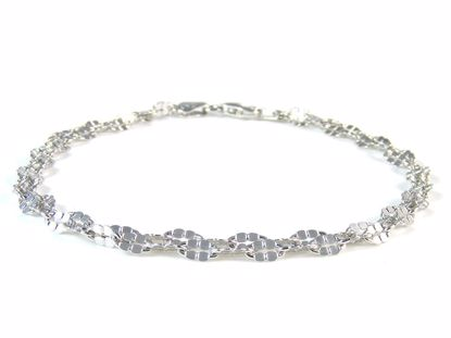 Picture of Sterling Silver Two Rows Flat Diamond Cut Links Bracelet