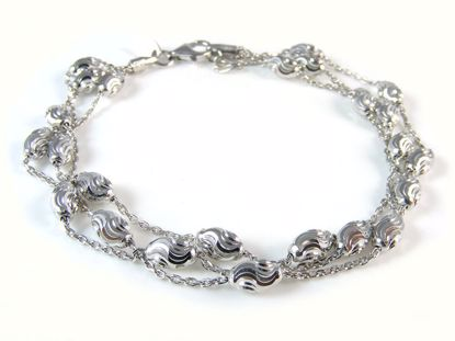 Picture of Sterling Silver Three Rows Diamond Cut Beads Bracelet