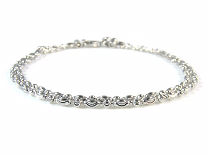 Picture of Sterling Silver Two Rows Diamond Cut Beads Bracelet