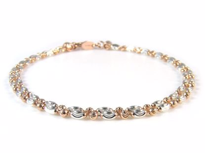 Picture of Sterling Silver Two Tone Two Rows Diamond Cut Beads Bracelet