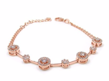 Picture of Sterling Silver Round Cluster Chain Bracelet Rose Gold Finish