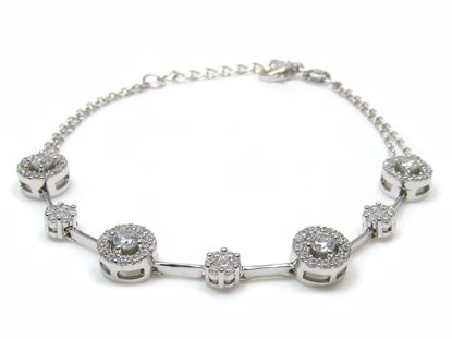 Picture of Sterling Silver Round Cluster Chain Bracelet Rhodium Plated