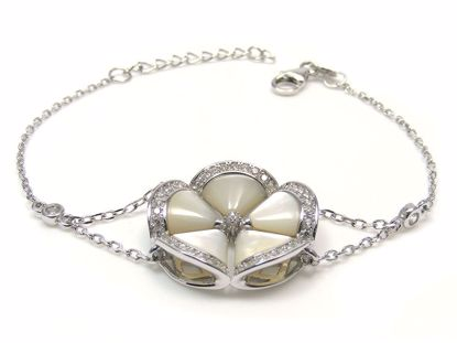 Picture of Sterling Silver Flower Shape Cluster Chain Bracelet Rhodium Plated