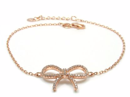 Picture of Sterling Silver Tie Knot Shape Chain Bracelet Rose Gold Finish