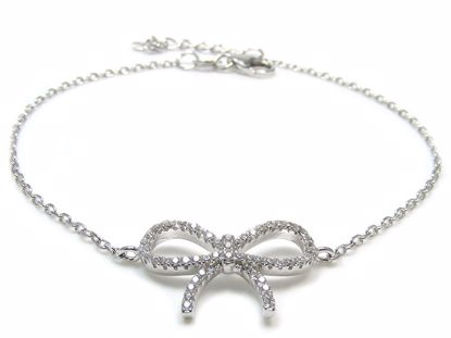 Picture of Sterling Silver Tie Knot Shape Chain Bracelet Rhodium Plated