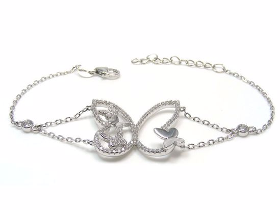 Picture of Sterling Silver Butterfly Shape Chain Bracelet Rhodium Plated