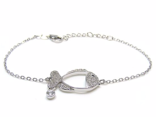 Picture of Sterling Silver Fish Shape Chain Bracelet Rhodium Plated