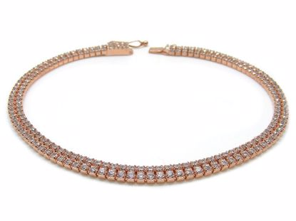 Picture of Sterling Silver Two Rows Chain Bracelet Rose Gold Finish