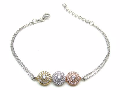 Picture of Sterling Silver Three Tones Round Cluster Chain Bracelet Gold Finish