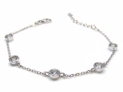 Picture of Sterling Silver Five Solitaire Chain Bracelet Rhodium Plated