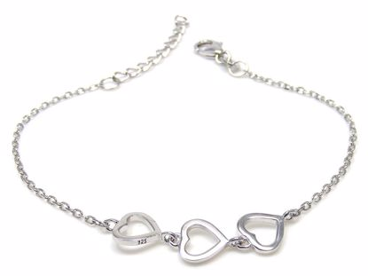 Picture of Sterling Silver Three Hearts Chain Bracelet Rhodium Plated