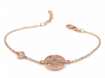 Picture of Sterling Silver Round Cross Chain Bracelet Rose Gold Finish
