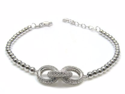 Picture of Sterling Silver Link Shape Cluster Chain Bracelet Rhodium Plated
