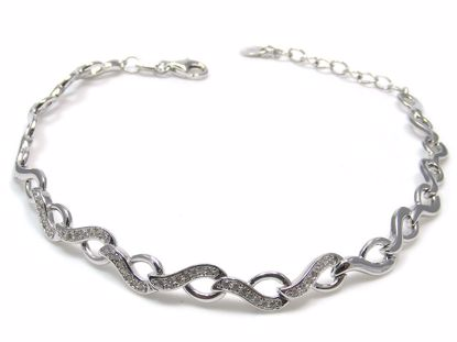 Picture of Sterling Silver Leaf Design Chain Bracelet Rhodium Plated