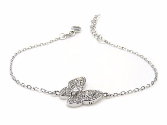 Picture of Sterling Silver Butterfly Shape Cluster Chain Bracelet Rhodium Plated