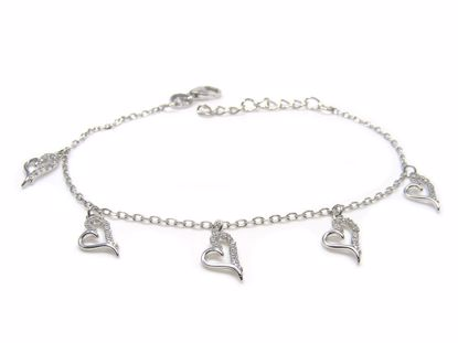 Picture of Sterling Silver Heart Shape Hanging Chain Bracelet Rhodium Plated