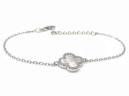 Picture of Sterling Silver Clover Shape Chain Bracelet Rhodium Plated